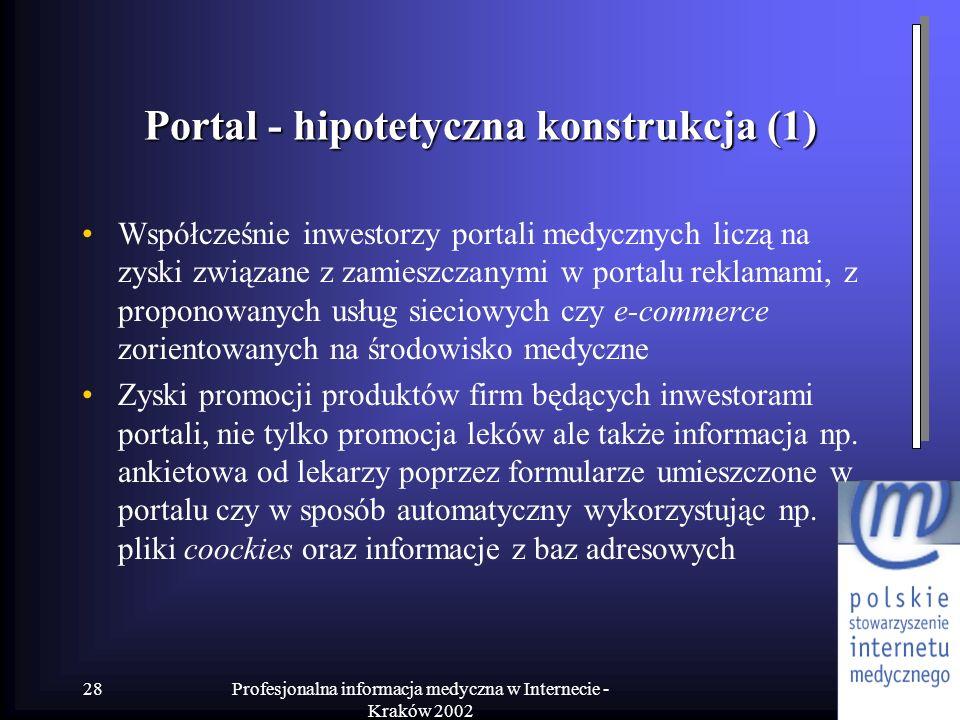 Profesjonalna informacja medyczna w Internecie - Kraków 2002 28 Portal - hipotetyczna konstrukcja (1) Współcześnie inwestorzy portali medycznych liczą