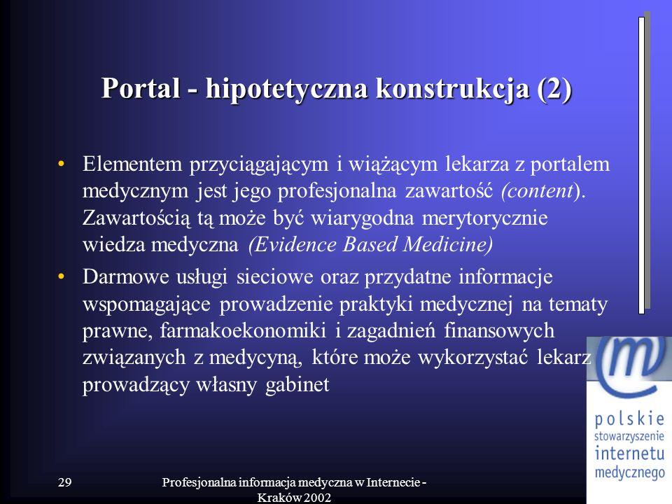 Profesjonalna informacja medyczna w Internecie - Kraków 2002 29 Portal - hipotetyczna konstrukcja (2) Elementem przyciągającym i wiążącym lekarza z po