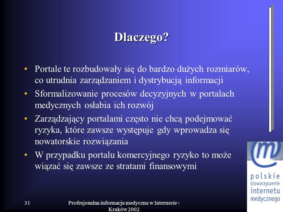 Profesjonalna informacja medyczna w Internecie - Kraków 2002 31 Dlaczego? Portale te rozbudowały się do bardzo dużych rozmiarów, co utrudnia zarządzan