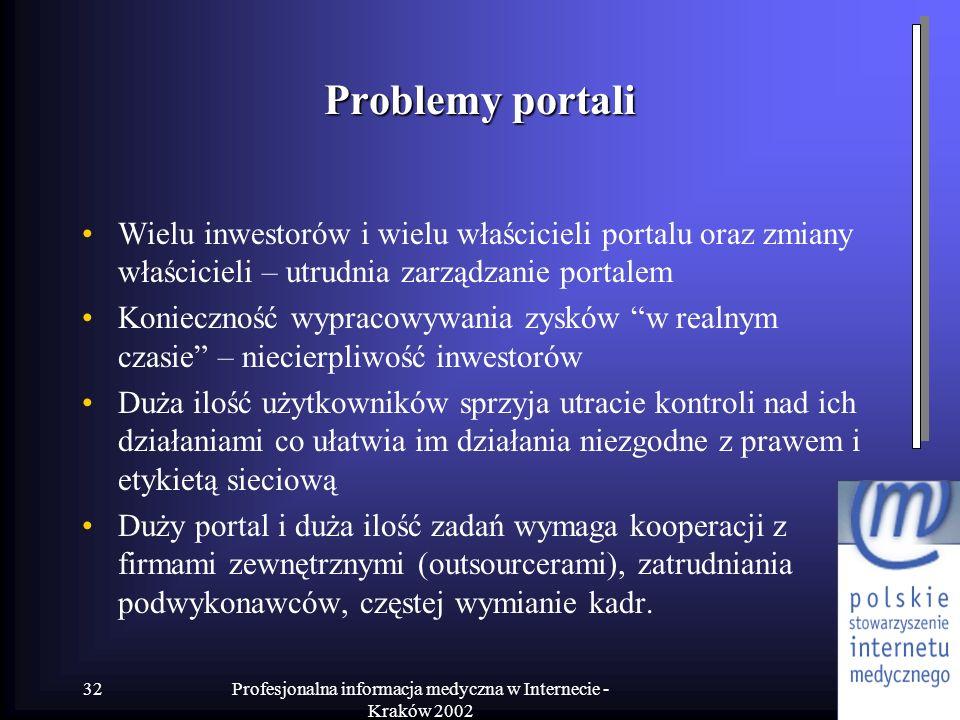 Profesjonalna informacja medyczna w Internecie - Kraków 2002 32 Problemy portali Wielu inwestorów i wielu właścicieli portalu oraz zmiany właścicieli