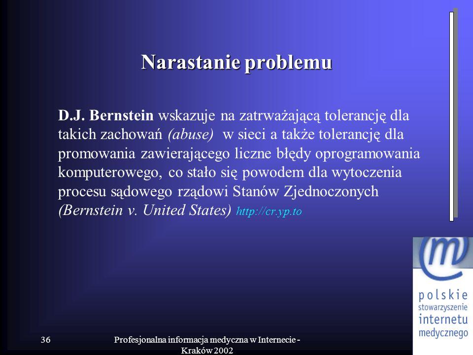 Profesjonalna informacja medyczna w Internecie - Kraków 2002 36 Narastanie problemu D.J. Bernstein wskazuje na zatrważającą tolerancję dla takich zach