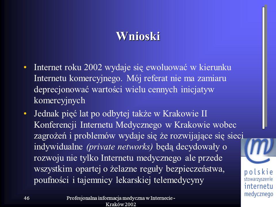Profesjonalna informacja medyczna w Internecie - Kraków 2002 46 Wnioski Internet roku 2002 wydaje się ewoluować w kierunku Internetu komercyjnego. Mój