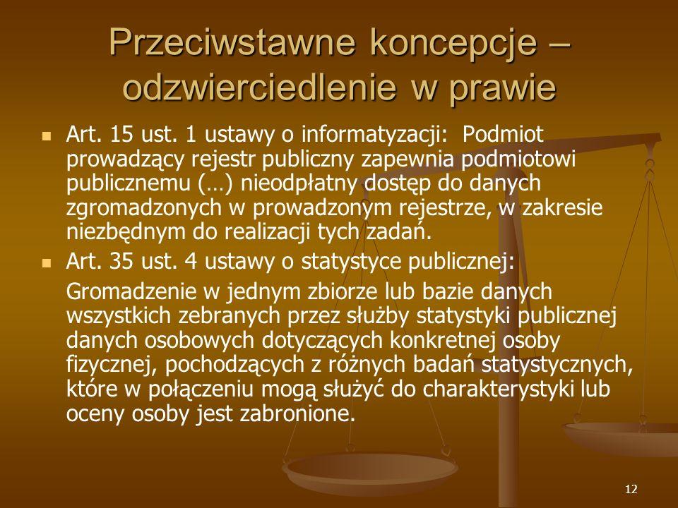 12 Przeciwstawne koncepcje – odzwierciedlenie w prawie Art. 15 ust. 1 ustawy o informatyzacji: Podmiot prowadzący rejestr publiczny zapewnia podmiotow