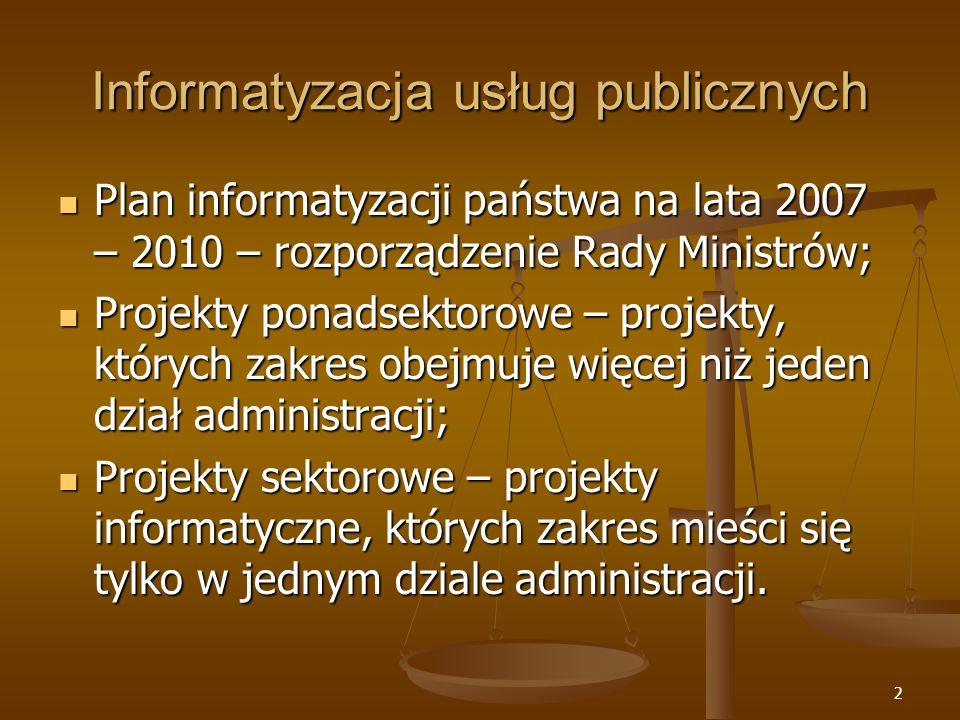 2 Informatyzacja usług publicznych Plan informatyzacji państwa na lata 2007 – 2010 – rozporządzenie Rady Ministrów; Plan informatyzacji państwa na lat