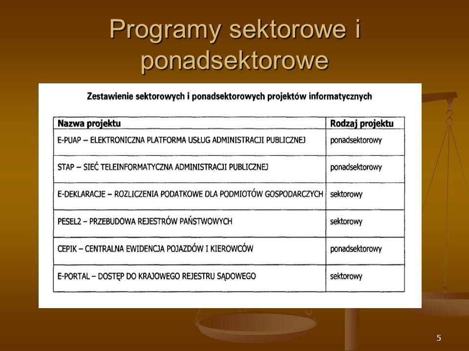 5 Programy sektorowe i ponadsektorowe