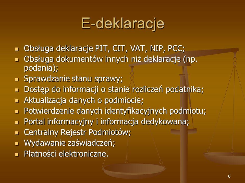 6 E-deklaracje Obsługa deklaracje PIT, CIT, VAT, NIP, PCC; Obsługa deklaracje PIT, CIT, VAT, NIP, PCC; Obsługa dokumentów innych niż deklaracje (np. p