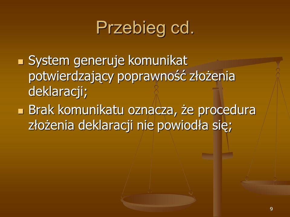 9 Przebieg cd. System generuje komunikat potwierdzający poprawność złożenia deklaracji; System generuje komunikat potwierdzający poprawność złożenia d