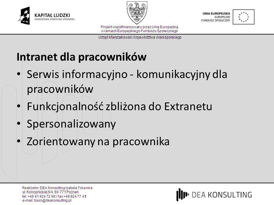 Intranet dla pracowników Serwis informacyjno - komunikacyjny dla pracowników Funkcjonalność zbliżona do Extranetu Spersonalizowany Zorientowany na pra