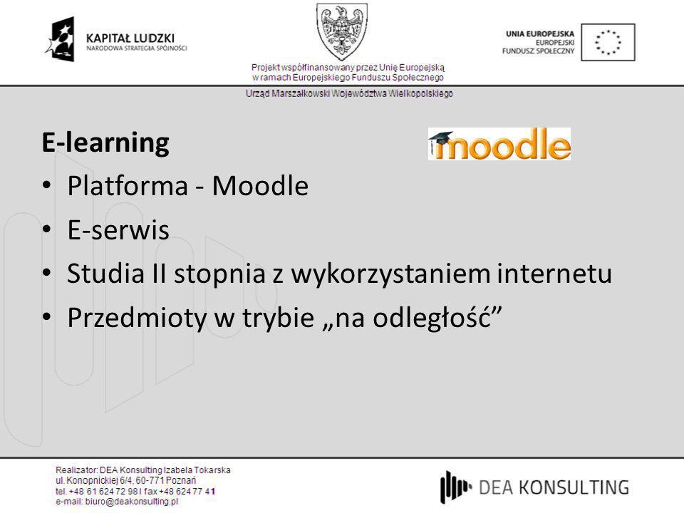 E-learning Platforma - Moodle E-serwis Studia II stopnia z wykorzystaniem internetu Przedmioty w trybie na odległość