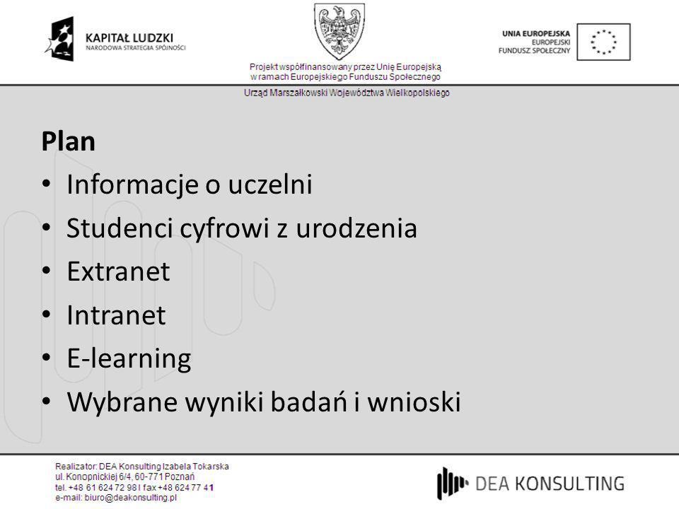Plan Informacje o uczelni Studenci cyfrowi z urodzenia Extranet Intranet E-learning Wybrane wyniki badań i wnioski