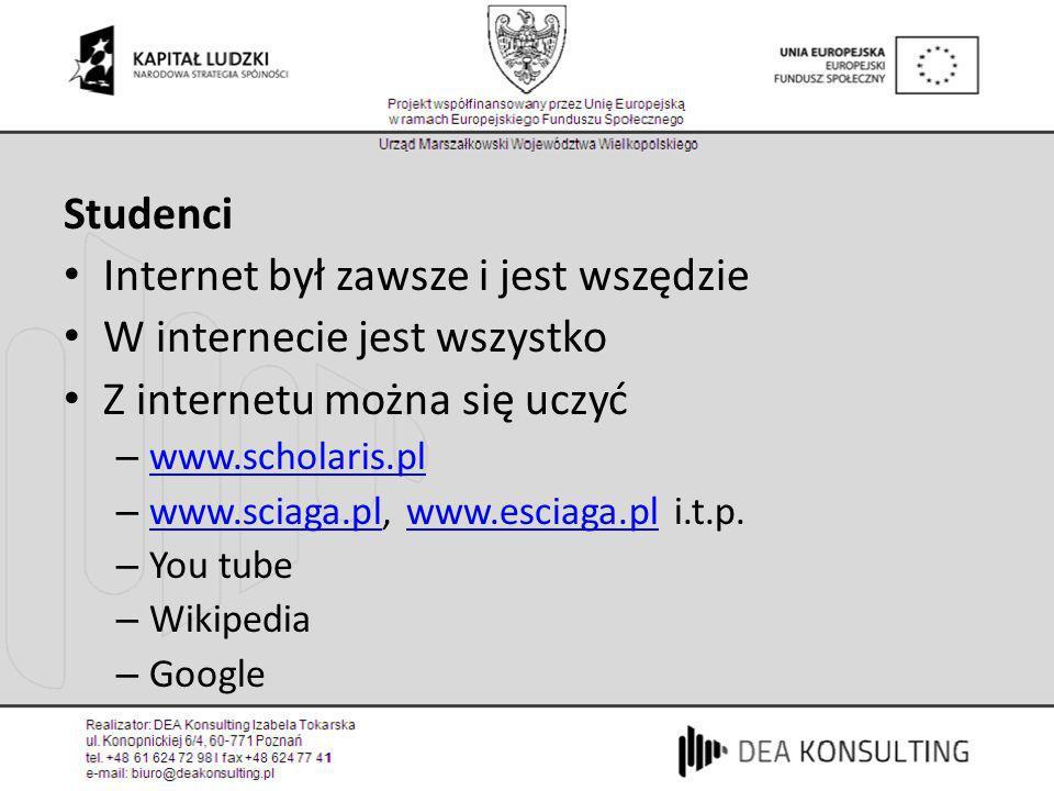 Studenci Internet był zawsze i jest wszędzie W internecie jest wszystko Z internetu można się uczyć – www.scholaris.pl www.scholaris.pl – www.sciaga.p