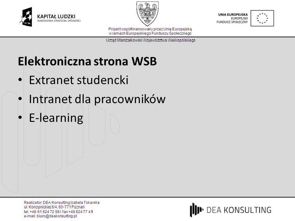 Elektroniczna strona WSB Extranet studencki Intranet dla pracowników E-learning