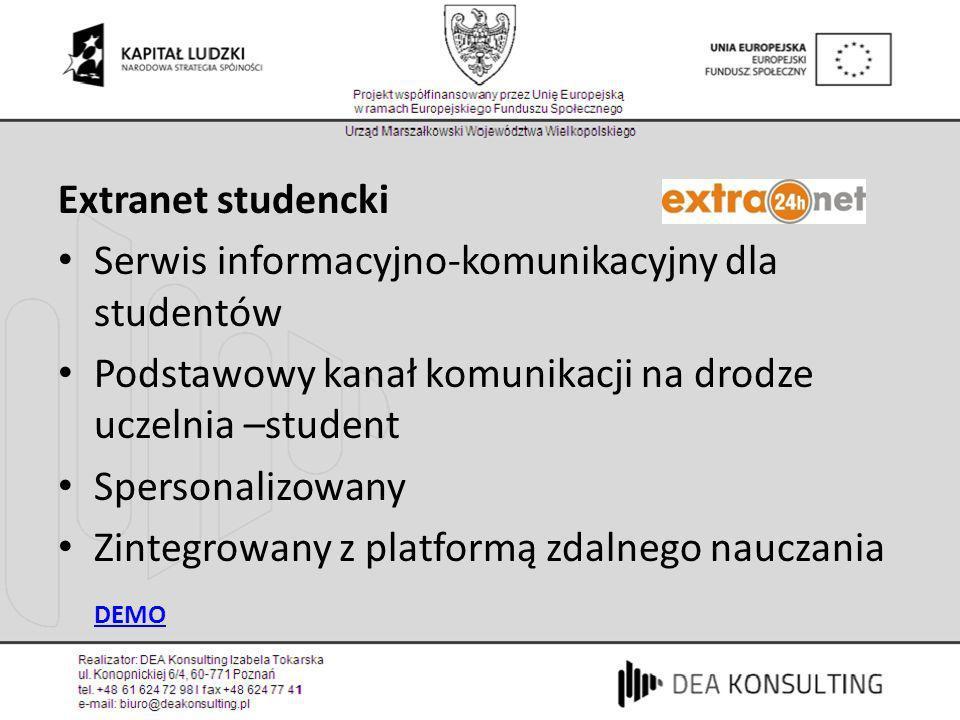 Extranet studencki Serwis informacyjno-komunikacyjny dla studentów Podstawowy kanał komunikacji na drodze uczelnia –student Spersonalizowany Zintegrow
