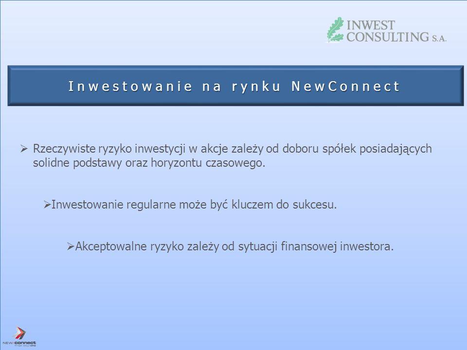 Inwestowanie na rynku NewConnect Rzeczywiste ryzyko inwestycji w akcje zależy od doboru spółek posiadających solidne podstawy oraz horyzontu czasowego
