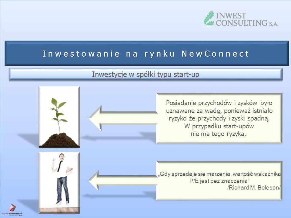 Inwestowanie na rynku NewConnect Inwestycje w spółki typu start-up Posiadanie przychodów i zysków było uznawane za wadę, ponieważ istniało ryzyko że p