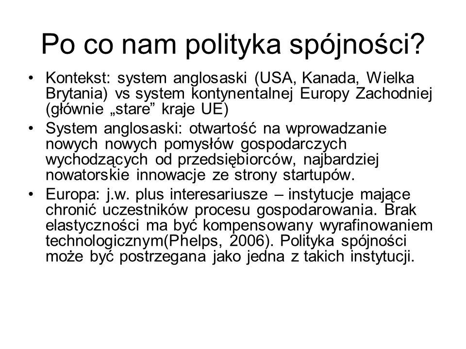 Po co nam polityka spójności? Kontekst: system anglosaski (USA, Kanada, Wielka Brytania) vs system kontynentalnej Europy Zachodniej (głównie stare kra