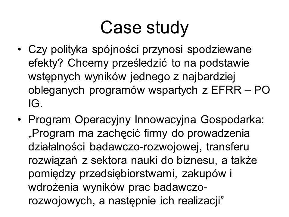 Case study Czy polityka spójności przynosi spodziewane efekty? Chcemy prześledzić to na podstawie wstępnych wyników jednego z najbardziej obleganych p