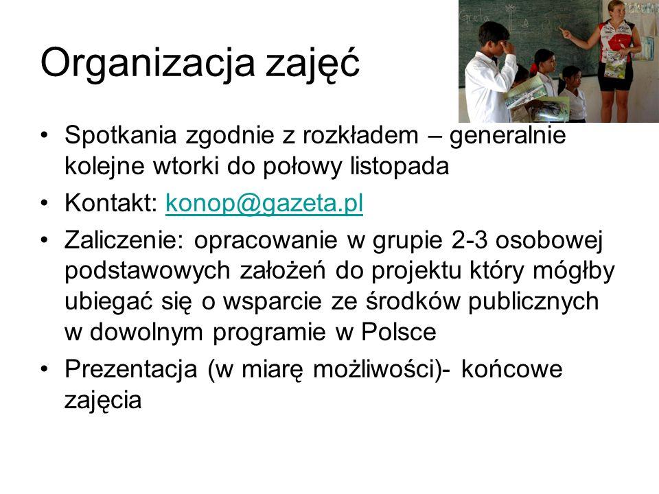 Organizacja zajęć Spotkania zgodnie z rozkładem – generalnie kolejne wtorki do połowy listopada Kontakt: konop@gazeta.plkonop@gazeta.pl Zaliczenie: op
