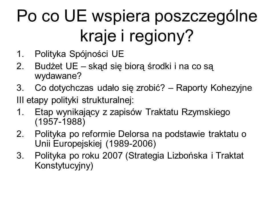 Po co UE wspiera poszczególne kraje i regiony? 1.Polityka Spójności UE 2.Budżet UE – skąd się biorą środki i na co są wydawane? 3.Co dotychczas udało