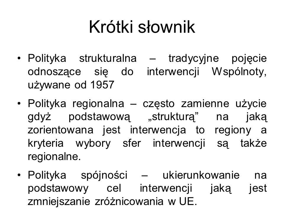 Krótki słownik Polityka strukturalna – tradycyjne pojęcie odnoszące się do interwencji Wspólnoty, używane od 1957 Polityka regionalna – często zamienn