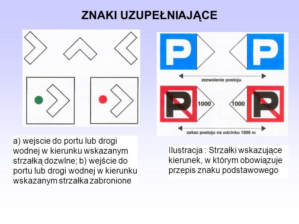 ZNAKI UZUPEŁNIAJĄCE a) wejscie do portu lub drogi wodnej w kierunku wskazanym strzałką dozwlne; b) wejście do portu lub drogi wodnej w kierunku wskaza