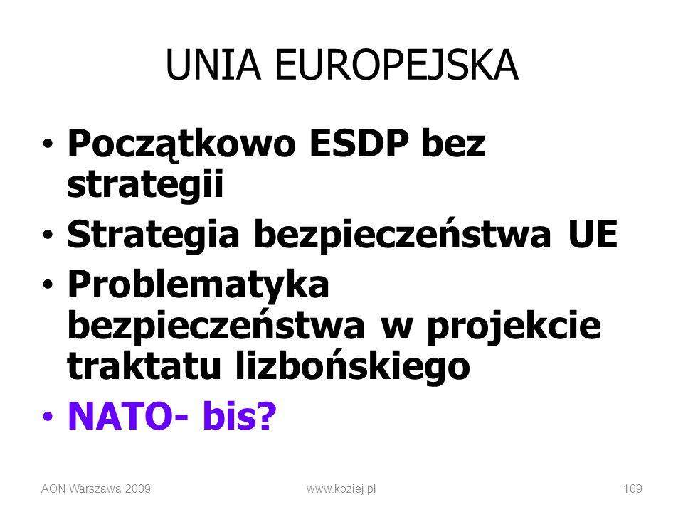 Początkowo ESDP bez strategii Strategia bezpieczeństwa UE Problematyka bezpieczeństwa w projekcie traktatu lizbońskiego NATO- bis? AON Warszawa 2009ww