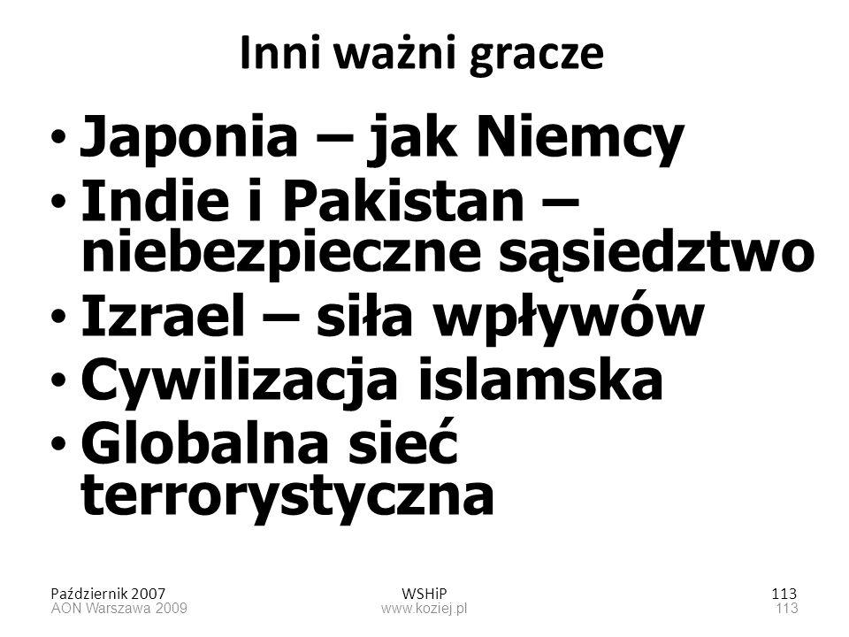 Październik 2007WSHiP113 Inni ważni gracze Japonia – jak Niemcy Indie i Pakistan – niebezpieczne sąsiedztwo Izrael – siła wpływów Cywilizacja islamska
