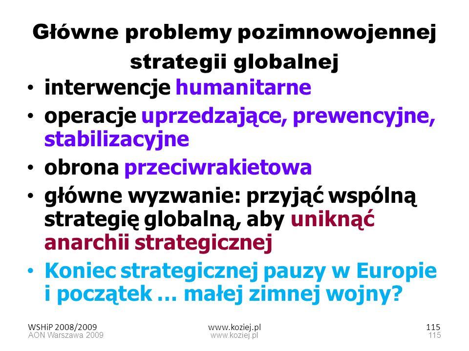 WSHiP 2008/2009www.koziej.pl115 Główne problemy pozimnowojennej strategii globalnej interwencje humanitarne operacje uprzedzające, prewencyjne, stabil