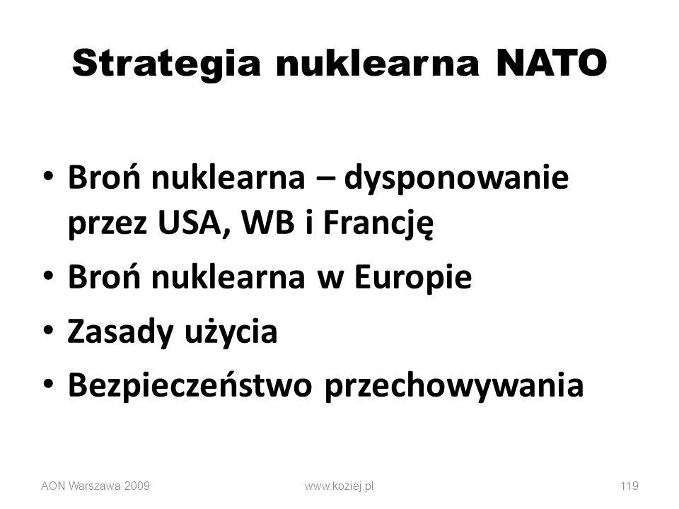 AON Warszawa 2009119 Strategia nuklearna NATO Broń nuklearna – dysponowanie przez USA, WB i Francję Broń nuklearna w Europie Zasady użycia Bezpieczeńs