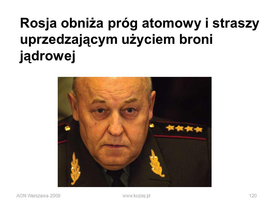 AON Warszawa 2009www.koziej.pl120 Rosja obniża próg atomowy i straszy uprzedzającym użyciem broni jądrowej