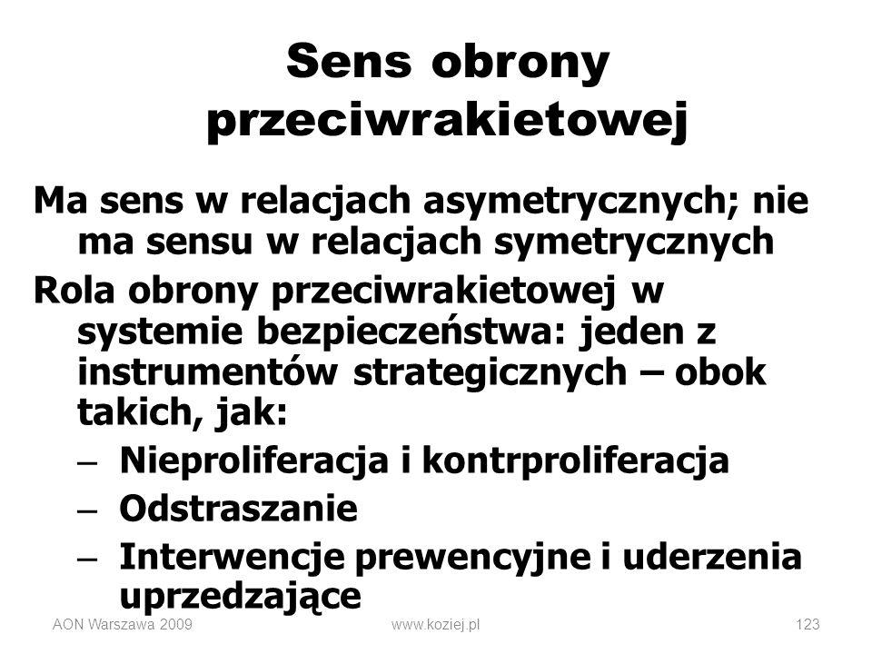 AON Warszawa 2009www.koziej.pl123 Sens obrony przeciwrakietowej Ma sens w relacjach asymetrycznych; nie ma sensu w relacjach symetrycznych Rola obrony