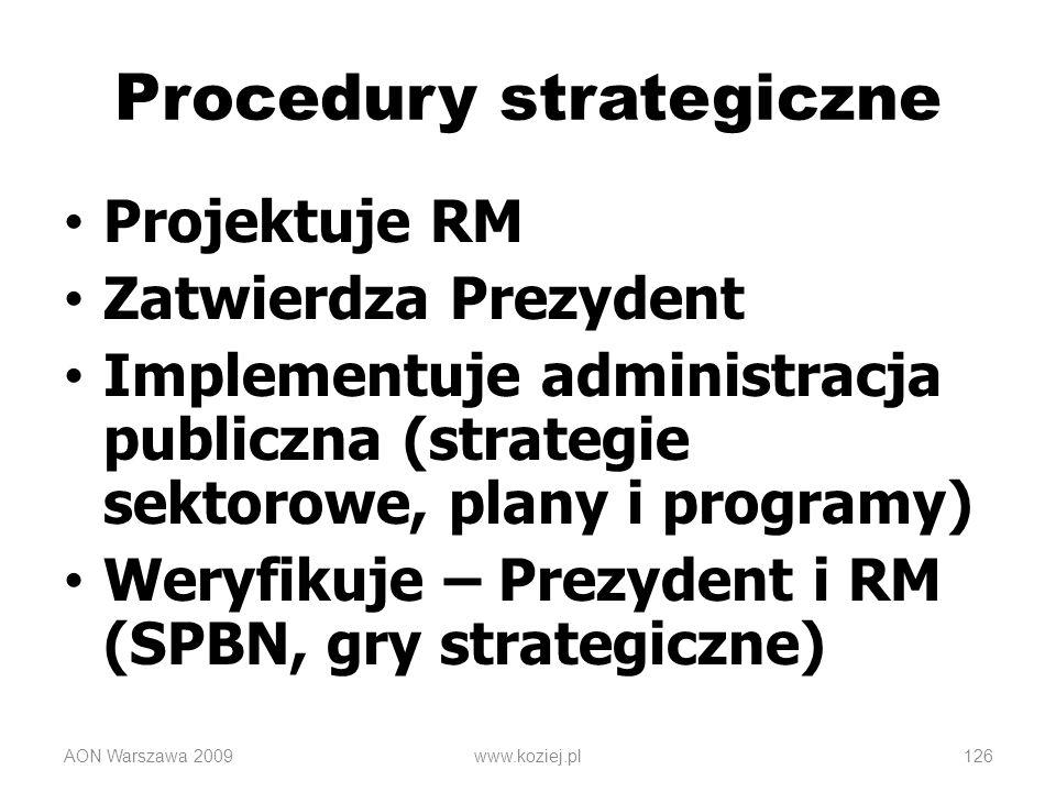 AON Warszawa 2009www.koziej.pl126 Procedury strategiczne Projektuje RM Zatwierdza Prezydent Implementuje administracja publiczna (strategie sektorowe,