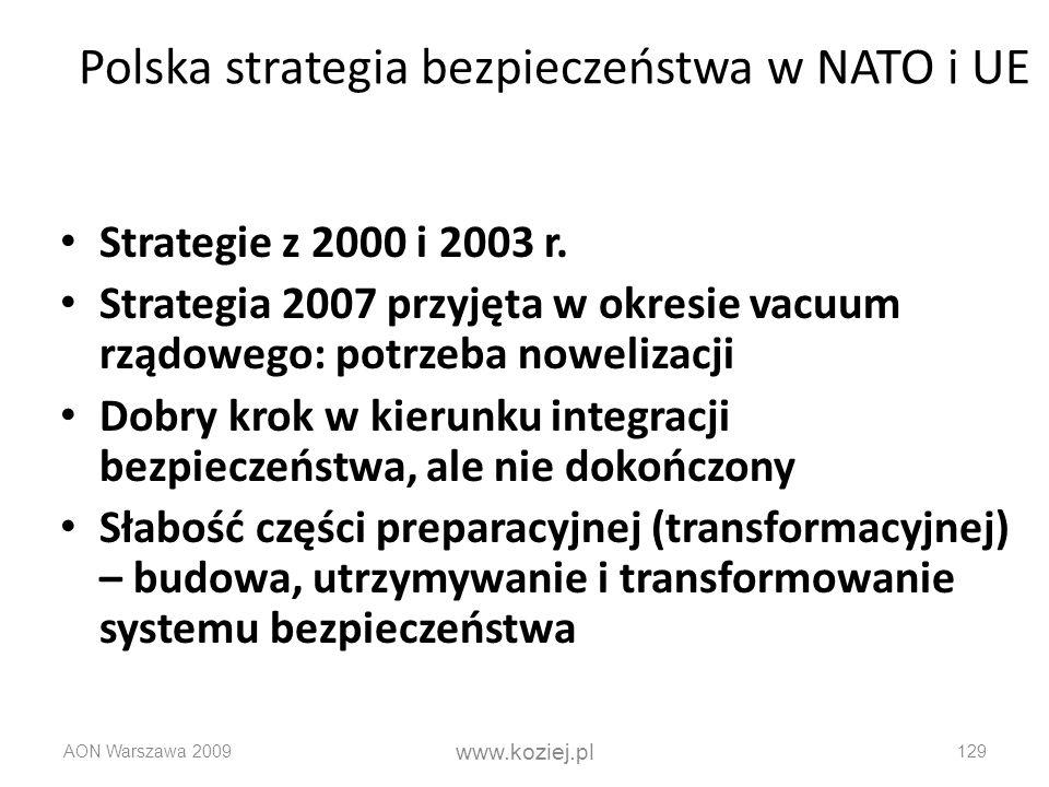 AON Warszawa 2009 www.koziej.pl 129 Polska strategia bezpieczeństwa w NATO i UE Strategie z 2000 i 2003 r. Strategia 2007 przyjęta w okresie vacuum rz
