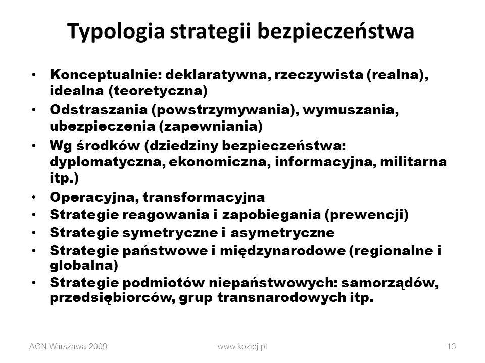 Typologia strategii bezpieczeństwa Konceptualnie: deklaratywna, rzeczywista (realna), idealna (teoretyczna) Odstraszania (powstrzymywania), wymuszania
