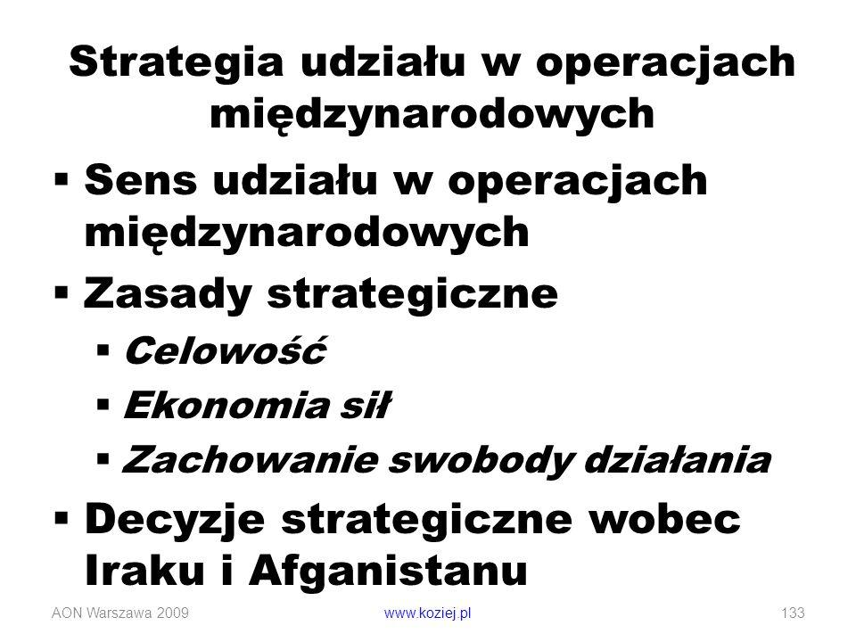 Sens udziału w operacjach międzynarodowych Zasady strategiczne Celowość Ekonomia sił Zachowanie swobody działania Decyzje strategiczne wobec Iraku i A