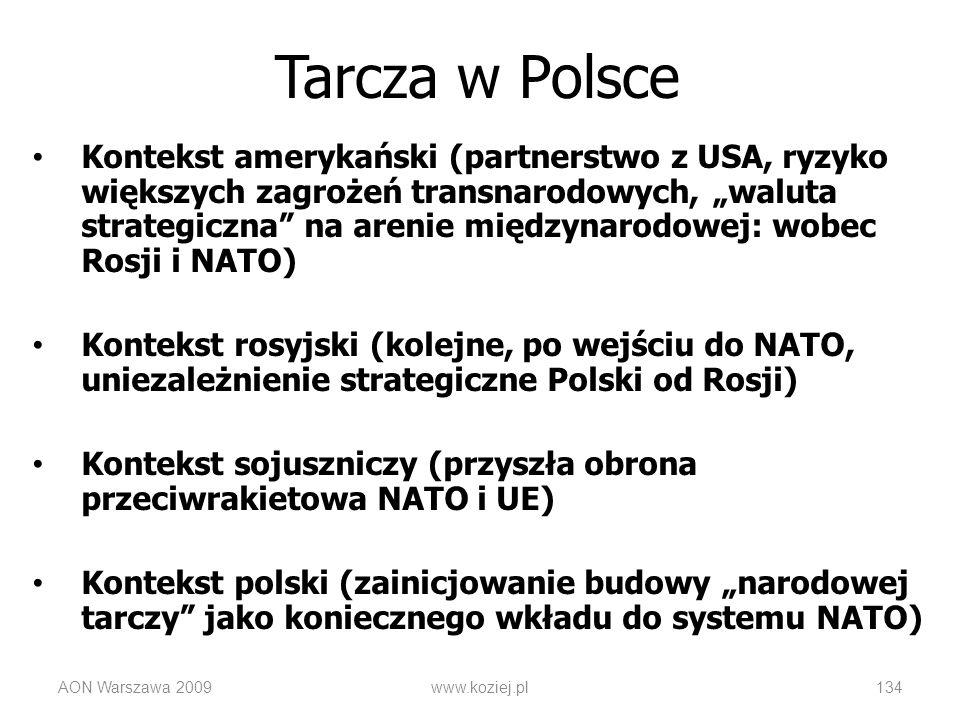 Kontekst amerykański (partnerstwo z USA, ryzyko większych zagrożeń transnarodowych, waluta strategiczna na arenie międzynarodowej: wobec Rosji i NATO)