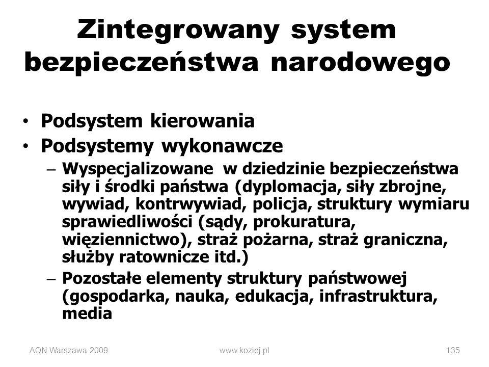 AON Warszawa 2009www.koziej.pl135 Zintegrowany system bezpieczeństwa narodowego Podsystem kierowania Podsystemy wykonawcze – Wyspecjalizowane w dziedz