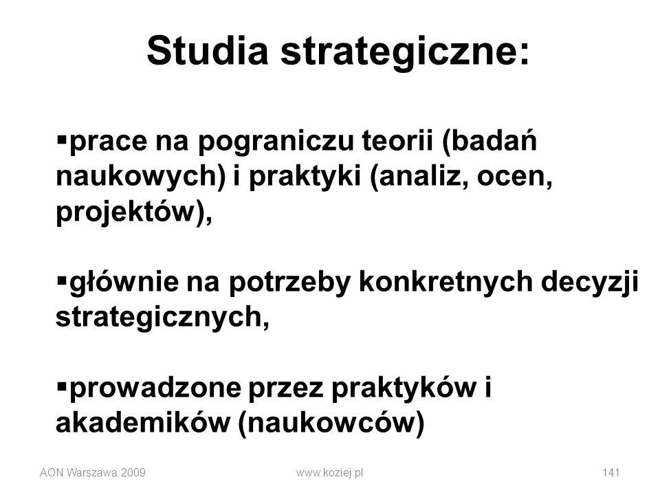 AON Warszawa 2009www.koziej.pl141 Studia strategiczne: prace na pograniczu teorii (badań naukowych) i praktyki (analiz, ocen, projektów), głównie na p