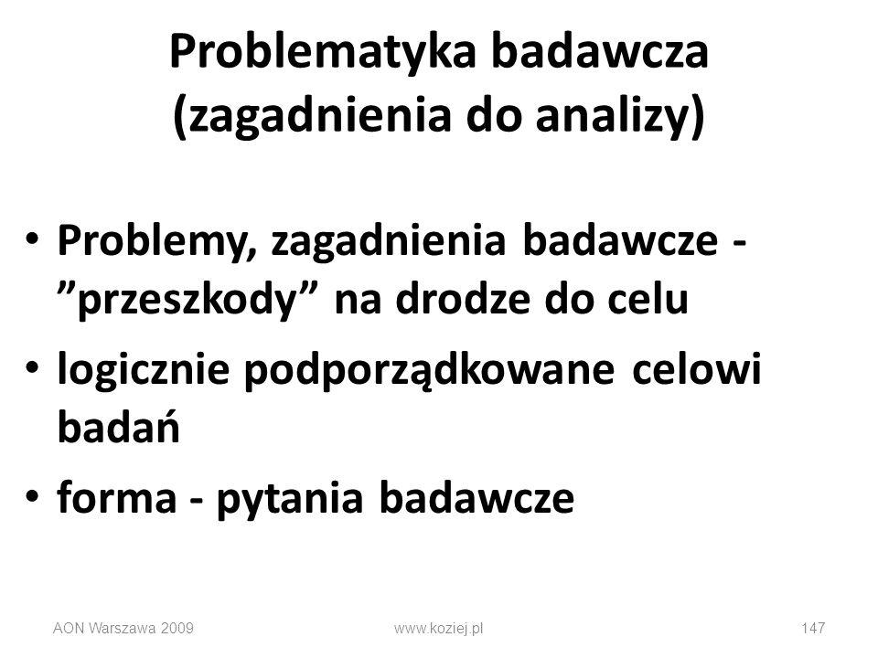 Problematyka badawcza (zagadnienia do analizy) Problemy, zagadnienia badawcze - przeszkody na drodze do celu logicznie podporządkowane celowi badań fo