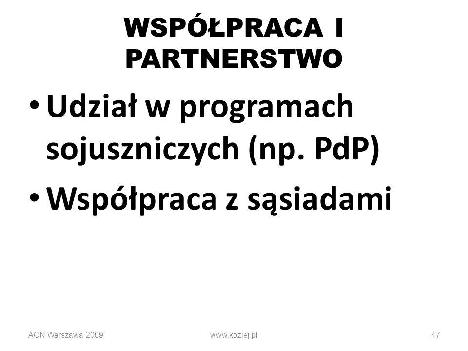 47 WSPÓŁPRACA I PARTNERSTWO Udział w programach sojuszniczych (np. PdP) Współpraca z sąsiadami AON Warszawa 2009www.koziej.pl
