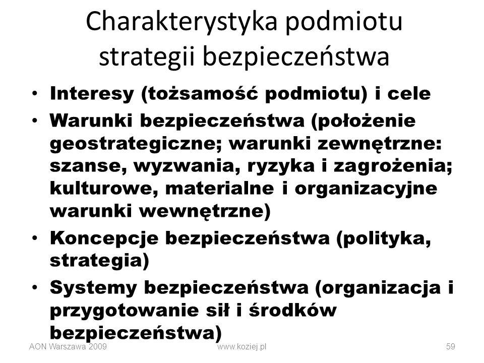 Charakterystyka podmiotu strategii bezpieczeństwa Interesy (tożsamość podmiotu) i cele Warunki bezpieczeństwa (położenie geostrategiczne; warunki zewn