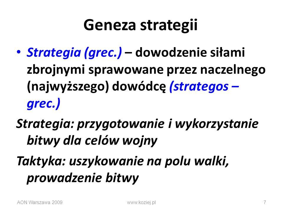 AON Warszawa 20097 Geneza strategii Strategia (grec.) – dowodzenie siłami zbrojnymi sprawowane przez naczelnego (najwyższego) dowódcę (strategos – gre