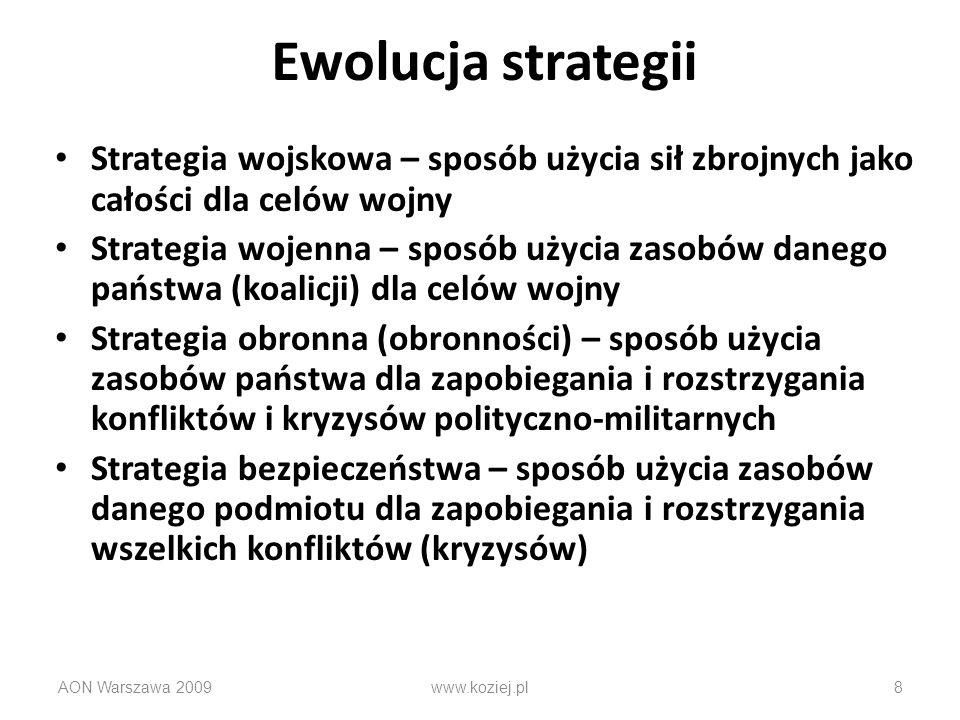 AON Warszawa 20098 Ewolucja strategii Strategia wojskowa – sposób użycia sił zbrojnych jako całości dla celów wojny Strategia wojenna – sposób użycia
