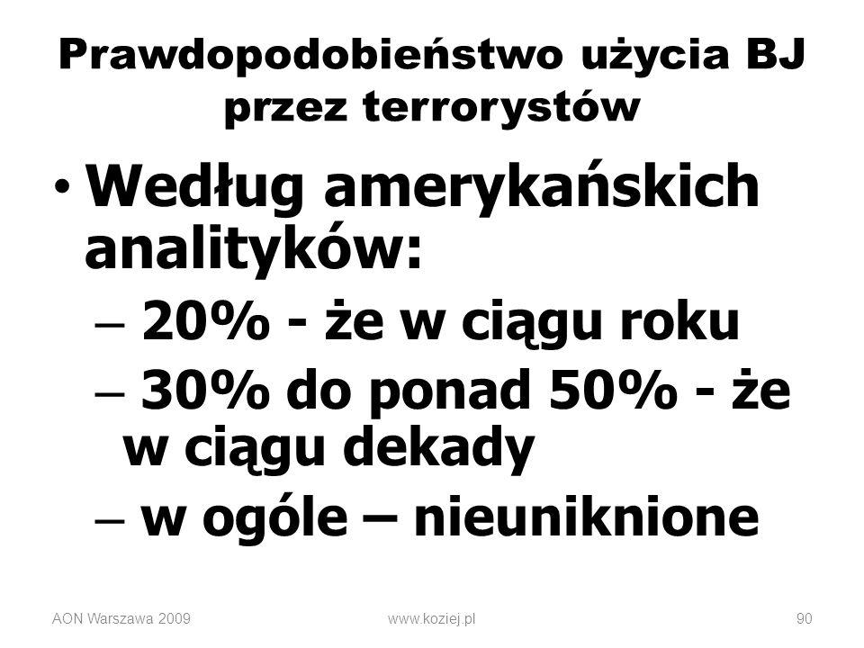 AON Warszawa 2009www.koziej.pl90 Prawdopodobieństwo użycia BJ przez terrorystów Według amerykańskich analityków: – 20% - że w ciągu roku – 30% do pona