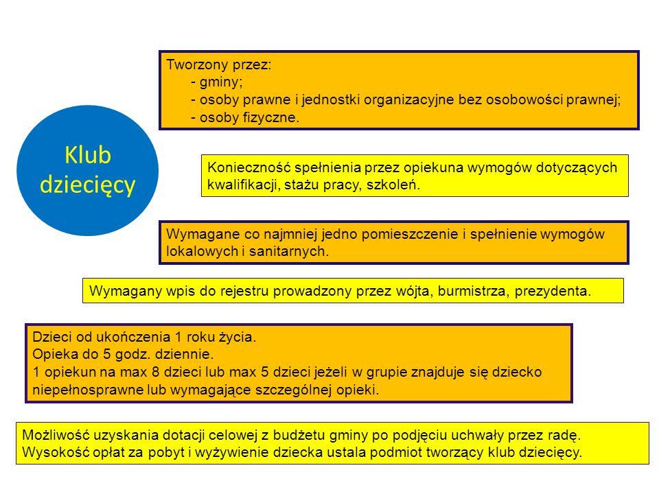 Klub dziecięcy Konieczność spełnienia przez opiekuna wymogów dotyczących kwalifikacji, stażu pracy, szkoleń. Tworzony przez: - gminy; - osoby prawne i