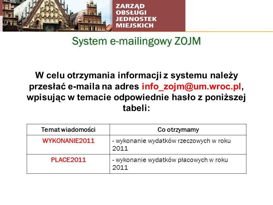 System e-mailingowy ZOJM W celu otrzymania informacji z systemu należy przesłać e-maila na adres info_zojm@um.wroc.pl, wpisując w temacie odpowiednie