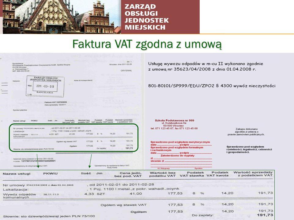 Faktura VAT zgodna z umową