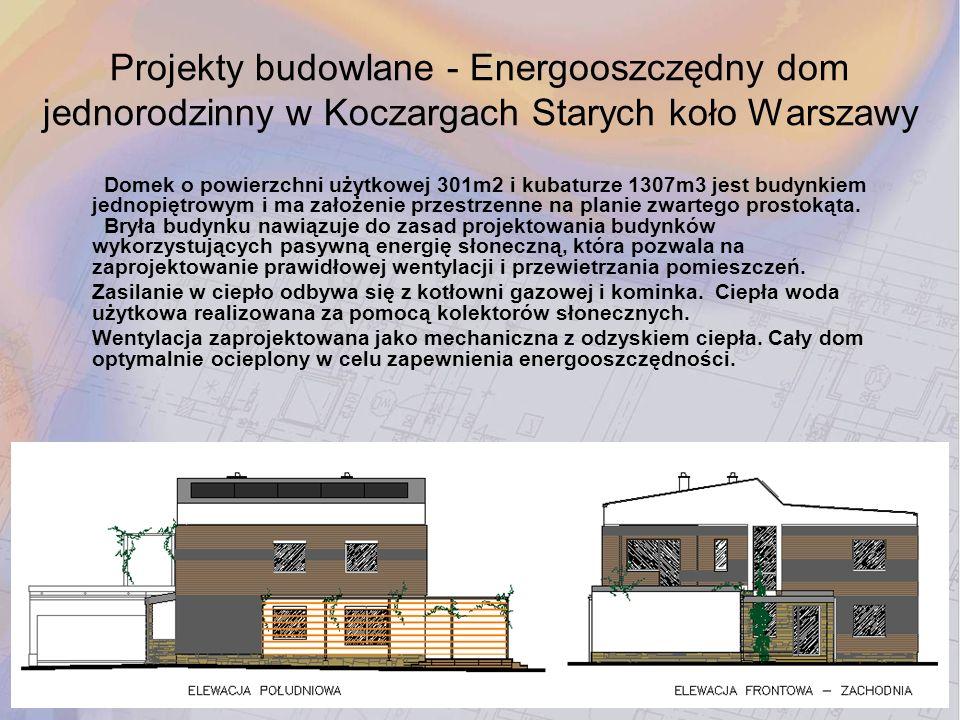 Domek o powierzchni użytkowej 301m2 i kubaturze 1307m3 jest budynkiem jednopiętrowym i ma założenie przestrzenne na planie zwartego prostokąta. Bryła