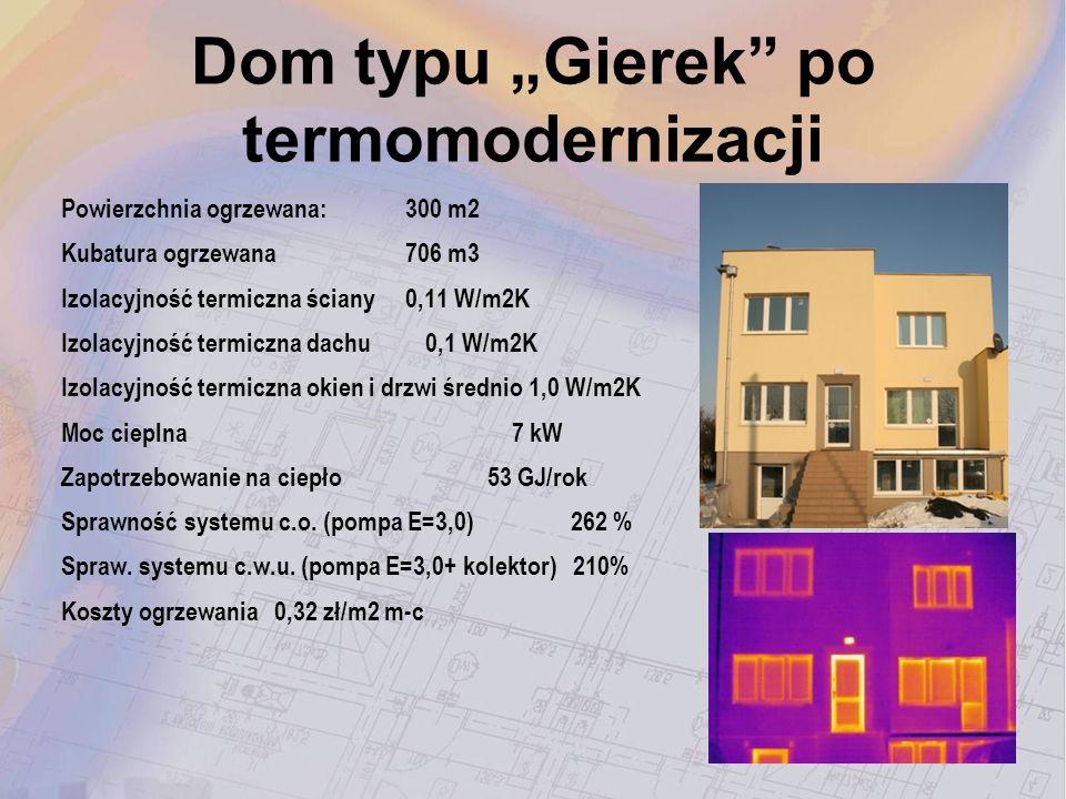 Dom typu Gierek po termomodernizacji Powierzchnia ogrzewana: 300 m2 Kubatura ogrzewana 706 m3 Izolacyjność termiczna ściany 0,11 W/m2K Izolacyjność te