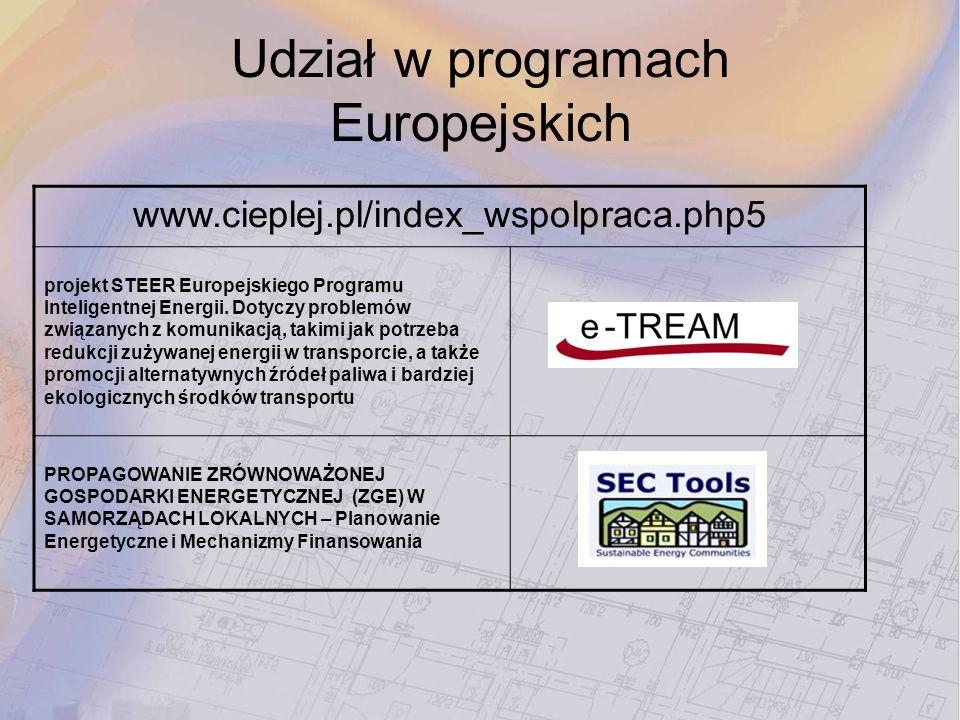 Udział w programach Europejskich www.cieplej.pl/index_wspolpraca.php5 projekt STEER Europejskiego Programu Inteligentnej Energii. Dotyczy problemów zw